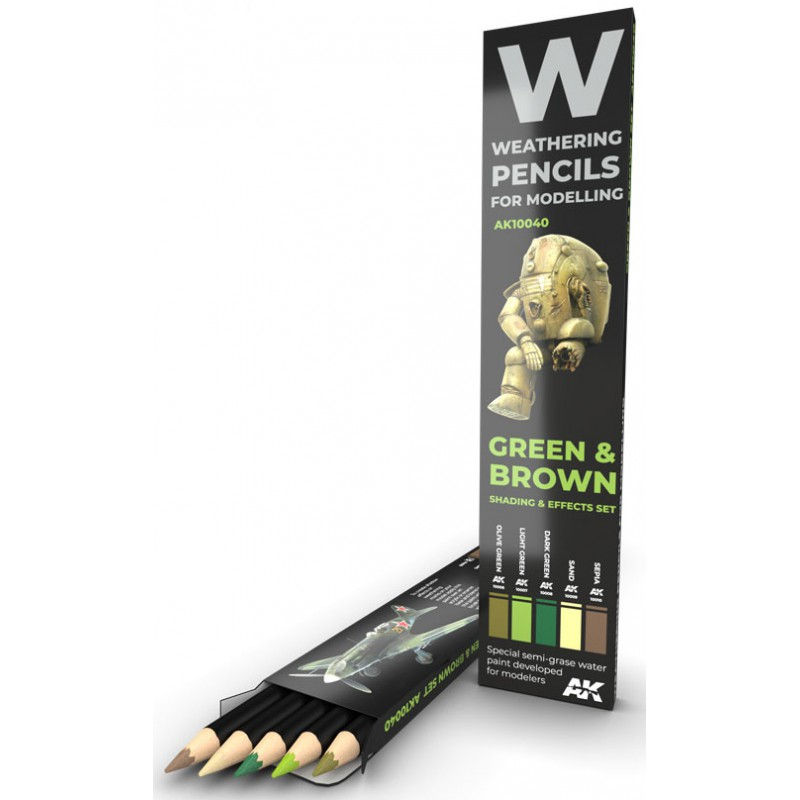 WATERCOLOR PENCIL SET GREEN AND BROWN CAMOUFLAGES