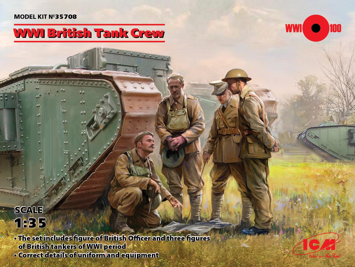 1/35 WWI British Tank Crew (4 figures) (100% new molds)