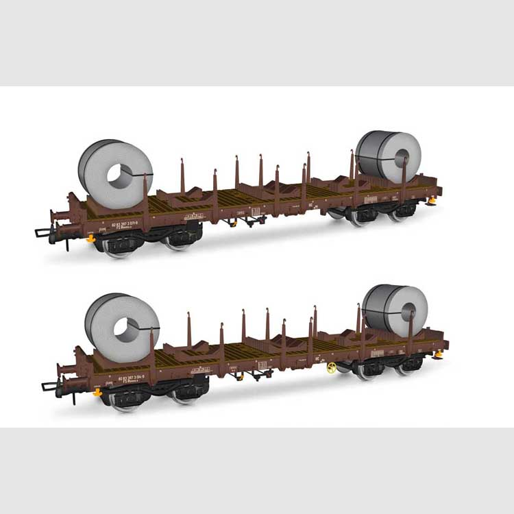 FS 2-unit pack of Rhmms-x flat wagons, loaded with coils